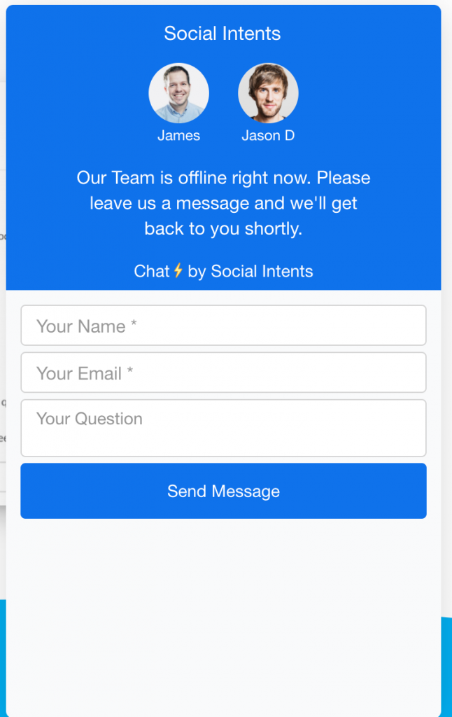 Pre-chat form example.