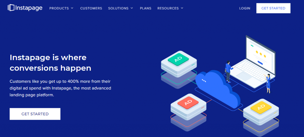 landing page software example.