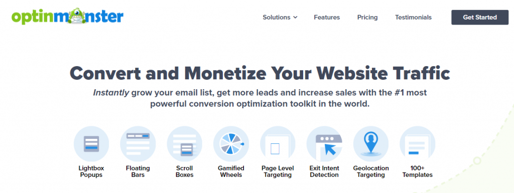 Another lead generation tool website screenshot.