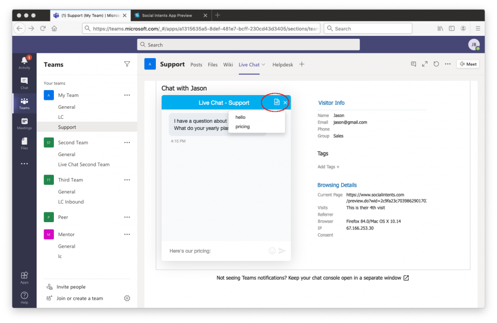 Connecting Slack and social intents.