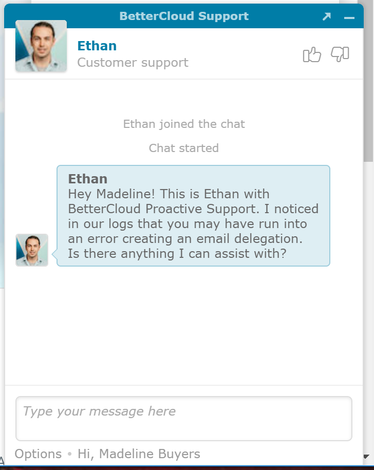 Example of a proactive approach to customer service in live chat.