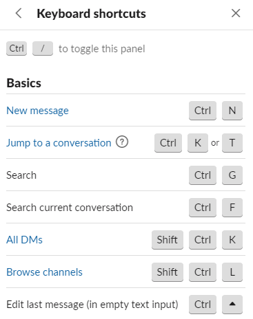 Keyboard shortcuts in Slack.