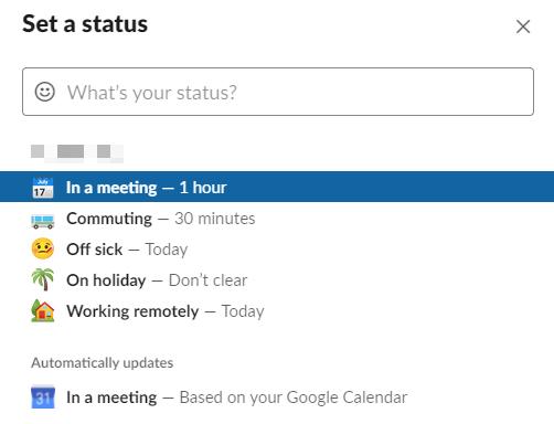 Setting up status in Slack.