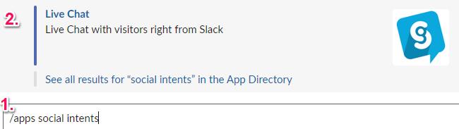 Apps commands in Slack.